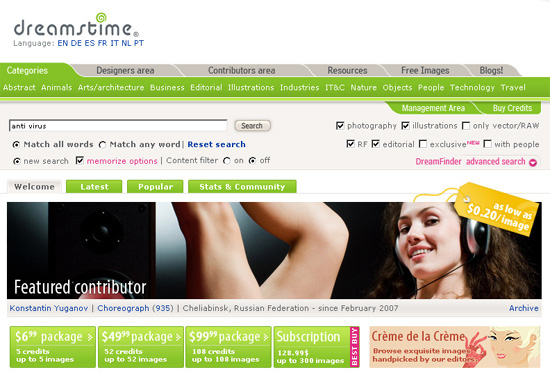 提供免費圖片素材及付費圖片素材的網站 - Dreamstime