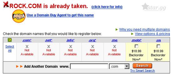 域名查詢結果